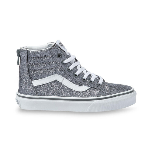 Vans Youth Shoes - Sk8-Hi Zip - Glitter Pewter/True White