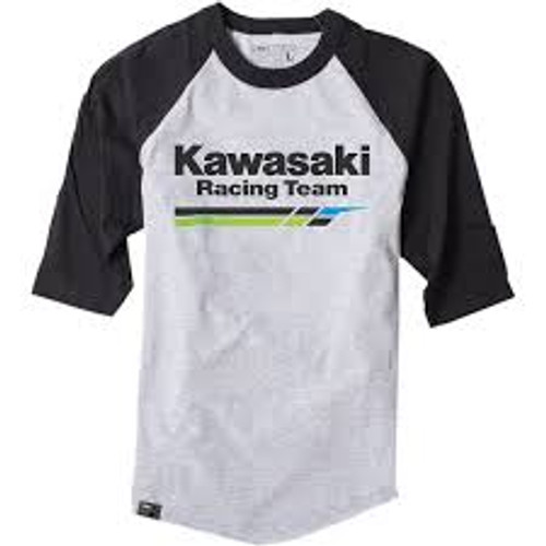 Factory Effex Tee Shirt - Kawasaki Racing Raglan - Navy/Heather Grey