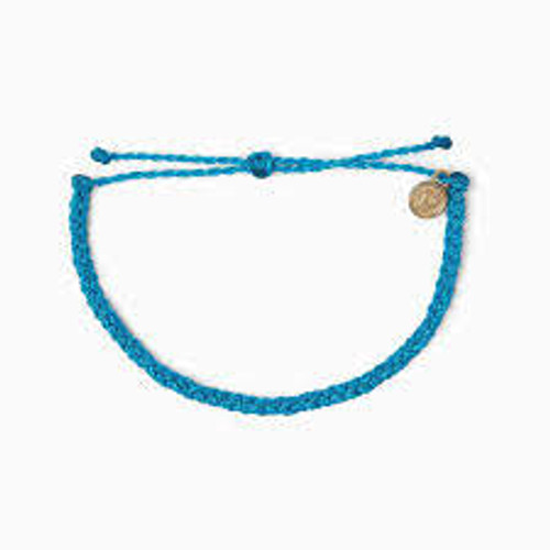 Pura Vida Anklet - Mini Braided - Neon Blue