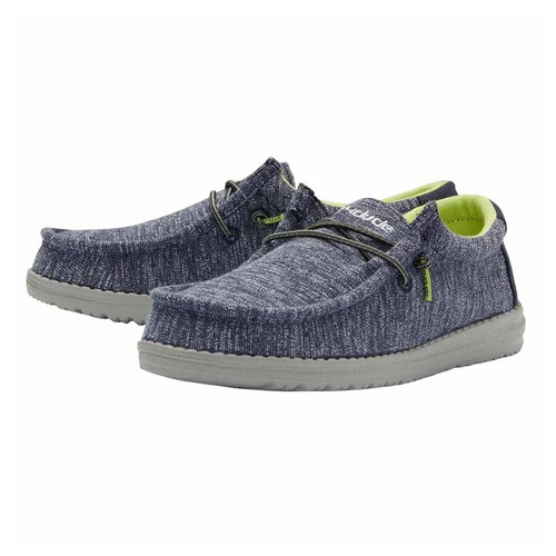 Hey Dude Youth Shoes - Wally Stretch - Navy