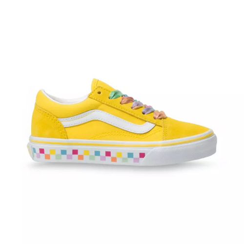 Vans Youth Shoes - Old Skool - Rainbow Lace/Cyber Yellow