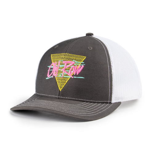 Old Row Hat - Retro Triangle Mesh - Charcoal/White