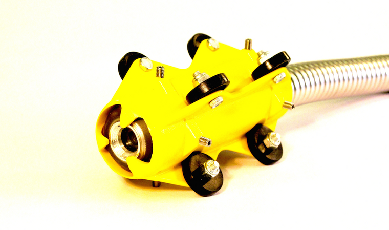 Mini Roller Skid attaches to push cameras for the inspection of 4 - 6 inch pipelines. Great for cast iron pipes with long inspection ranges.