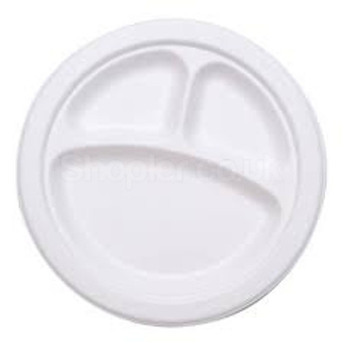 Bagasse Disposable, biodegradable 3 Comp plate10Inch - SHOPLER.CO.UK