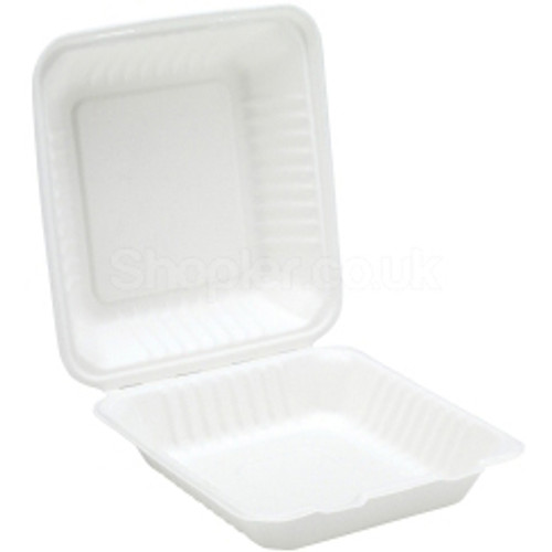 Bagasse, biodegradable 9'' Clamshell Meal Box - SHOPLER.CO.UK