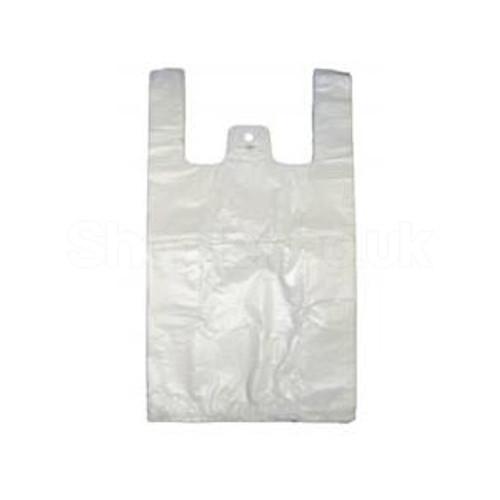 Medium White Plastic Carrier Bag [11x17x21 15 mu - SHOPLER.CO.UK