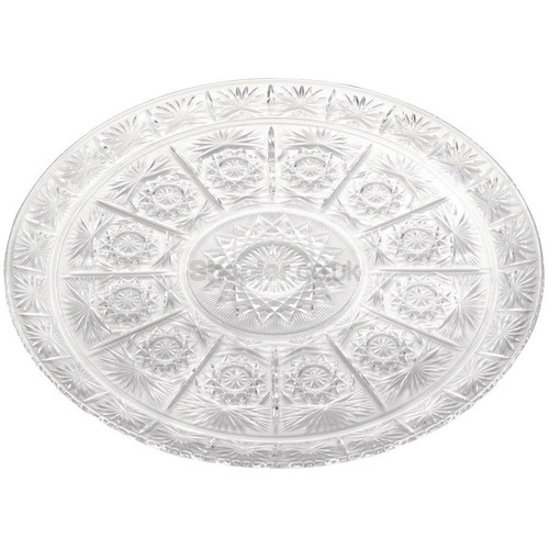 Plastic Round Tray Clear [36cm] a pack of 48 - SHOPLER.CO.UK