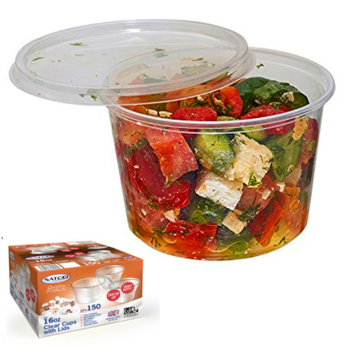 Satco 16oz Round Plastic Deli Pot Containers - SHOPLER.CO.UK