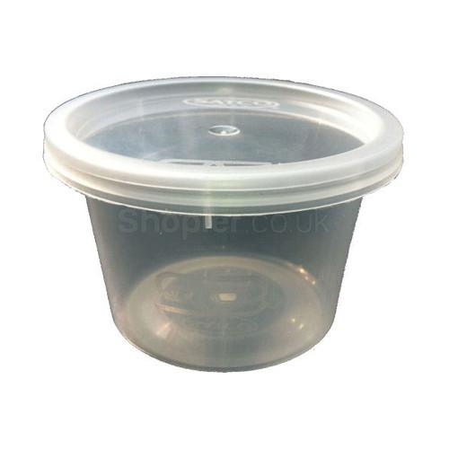 Satco 8oz Round Plastic Pots & Lids 'M8' - SHOPLER.CO.UK