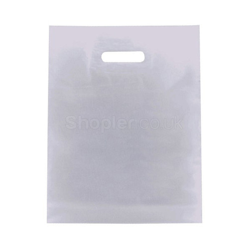 White Plastic Patch Handle Bag - SHOPLER.CO.UK