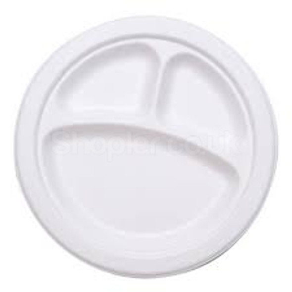 Bagasse Disposable, biodegradable 3 Comp plate10Inch - SHOPLER
