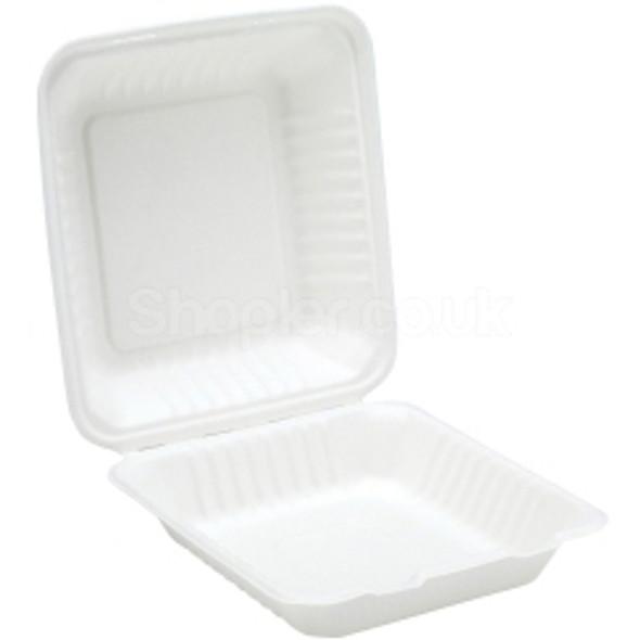 Bagasse, biodegradable 9'' Clamshell Meal Box - SHOPLER.CO.UK
