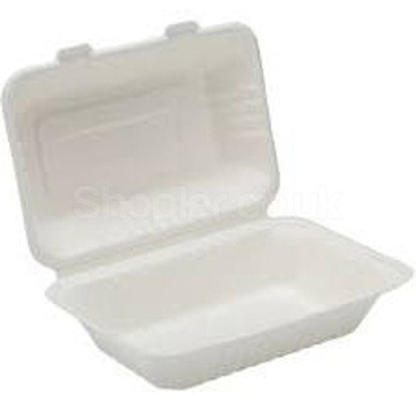 Bagasse, biodegradable Lunch Box 9'' x 6'' x 3'' - SHOPLER.CO.UK