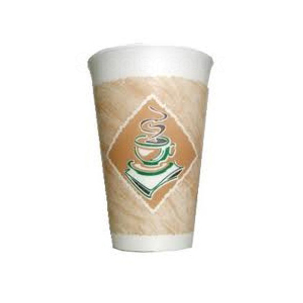 Dart 16LX16G Polystyrene Cafe G Cup 16oz 473ml, - SHOPLER