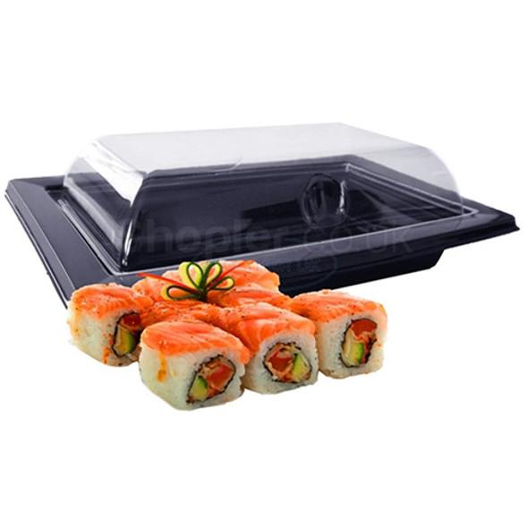 GPI RAV091NBlack Sushi Tray & Lids a pack of 400 - SHOPLER