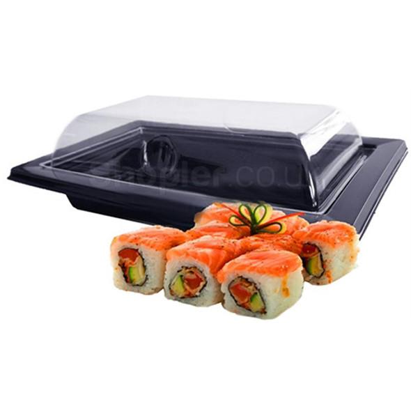 GPI Black Sushi Tray & Lids RAV171N 135x135x47mm - SHOPLER