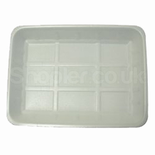 Linpac [J4] Polystyrene White Tray [318x235x35mm] - SHOPLER