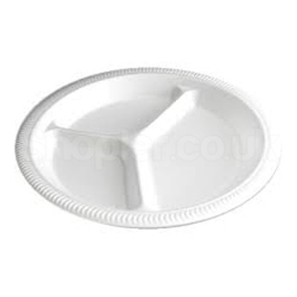 Linpac TP4/3 Polystyrene White Plate 3comp 10 Inch - SHOPLER.CO.UK