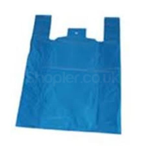 Medium Blue Carrier Bag High Density 11x17x21Inch - SHOPLER.CO.UK