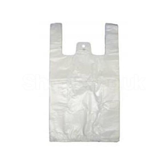 Medium White Plastic Carrier Bag [11x17x21 15 mu - SHOPLER.CO.UK
