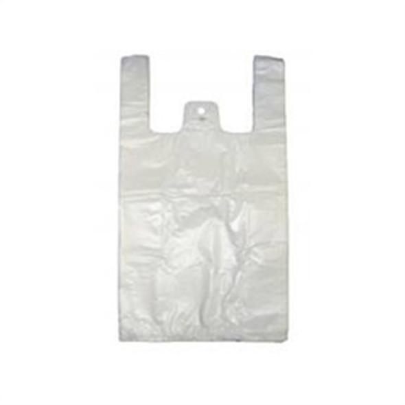 Medium White Carrier Bag High Density 11x17x21inc - SHOPLER
