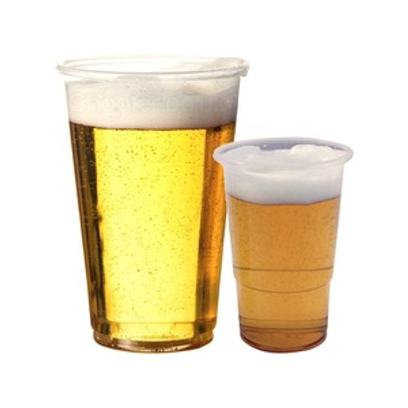 HALF PINT CLEAR PLASTIC DISPOSABLE PARTY BEER GLAS - SHOPLER.CO.UK