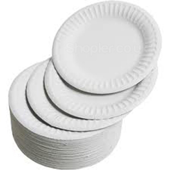 Paper Plate White [7Inch] 18cm a pack of 1000 - SHOPLER