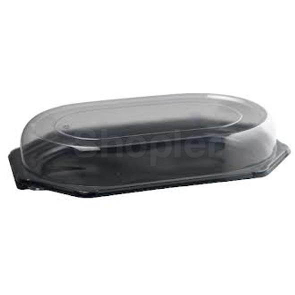 Plastic Platter Large Black Oct Base 460mmx 300mm - SHOPLER