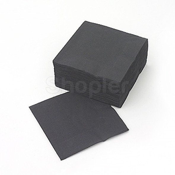 poppies Napkin Black 2ply [24x24cm] a pack of 400 - SHOPLER.CO.UK