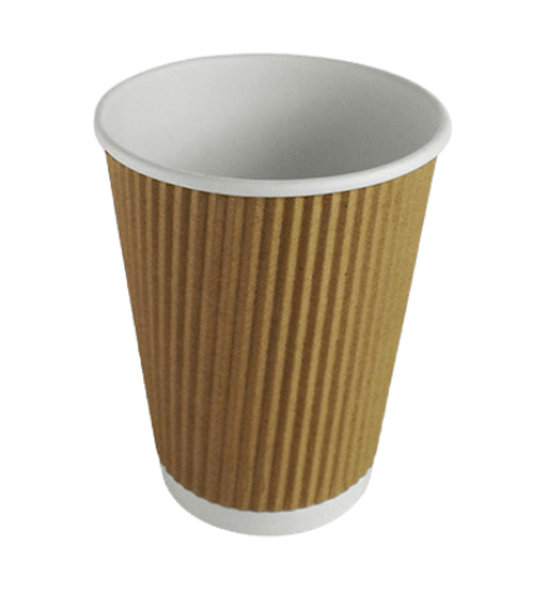 Ripple Kraft Paper Cup Hot [12oz] - SHOPLER
