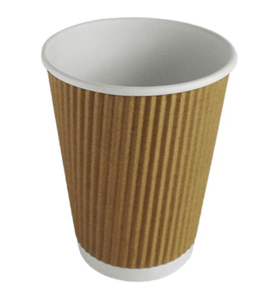 Ripple Kraft Paper Cup Hot [16oz] a pack of 500 - SHOPLER