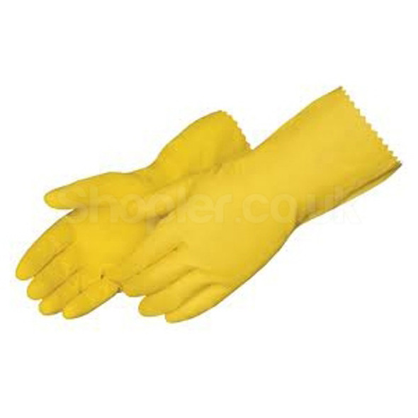 Rubber Gloves [Medium] Yellow a pack of 12 - SHOPLER.CO.UK