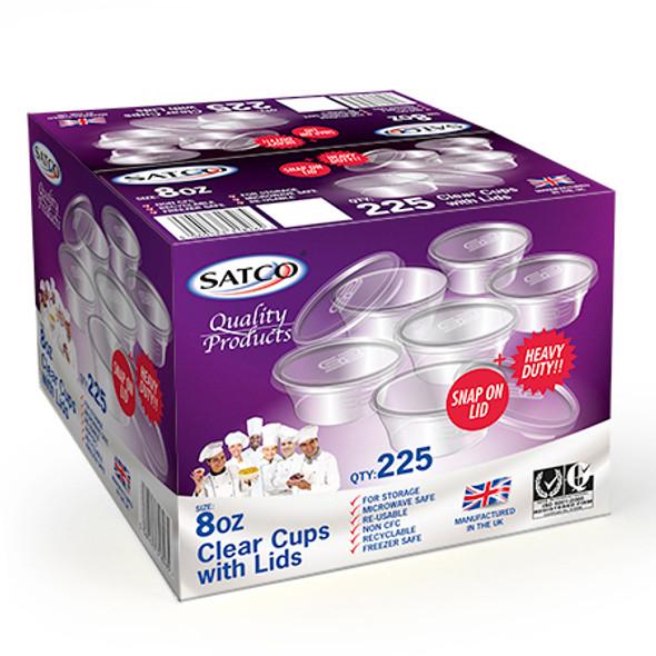 Satco 8oz Round Plastic Pots & Lids 'M8' - SHOPLER