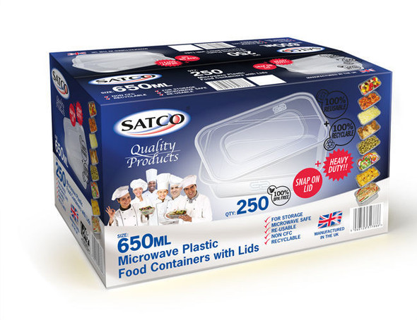 Satco Microwave Container & Lid [650ml] - SHOPLER.CO.UK