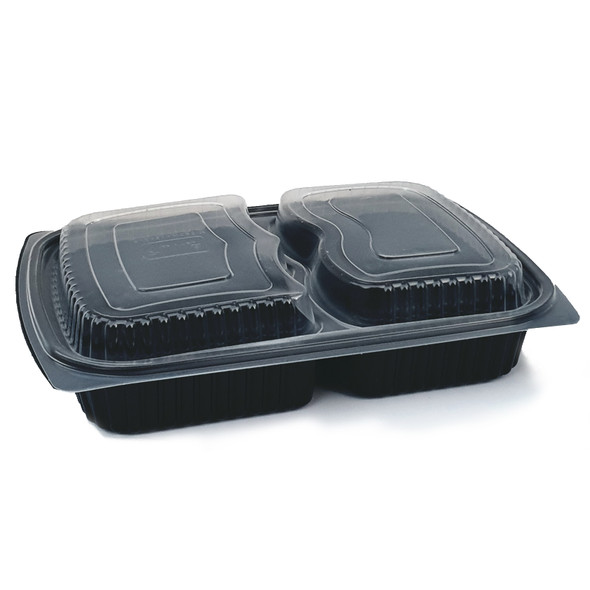 Black Microwave Container Two Compartment - 42oz (1250cc) - SHOPLER