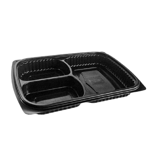 Black Microwave Container Three Compartment - 34oz (1000cc) - Tray Only - SHOPLER.CO.UK