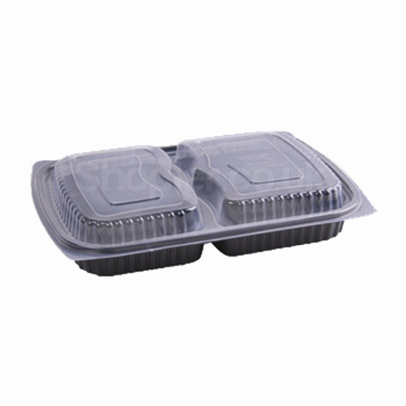 Somoplast 827 Black 2comp Microwavable Container - SHOPLER