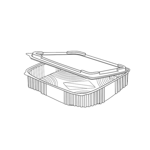 Clear Hinged Square Container 2000cc - SHOPLER