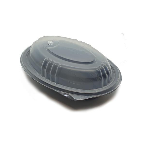 Somoplast 754 Oval Black Microwavable Container - SHOPLER