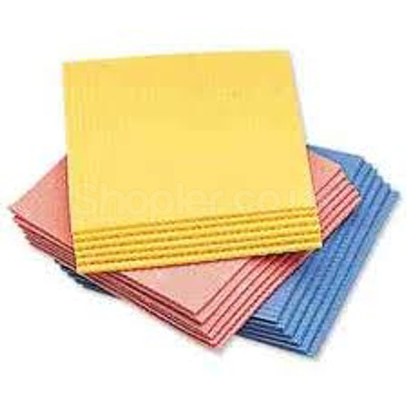 Sponge Cloth Assorted Colours a pack of 10 - SHOPLER.CO.UK