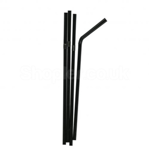 Straw Black [397BLACK] Bendy [200x5mm] - SHOPLER