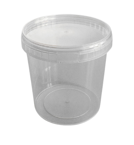 Tamper-proof [1000ml] Clear Round Containers & Lid - SHOPLER