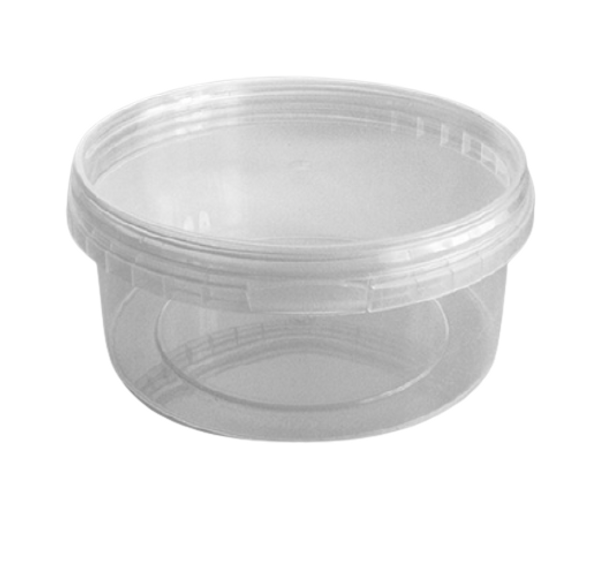 Tamper-proof [400ml] Clear Round Containers & Lids - SHOPLER