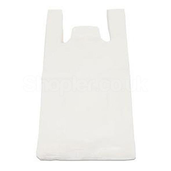 White Plastic Carrier Bag Bottle 19x32x44cm - SHOPLER.CO.UK