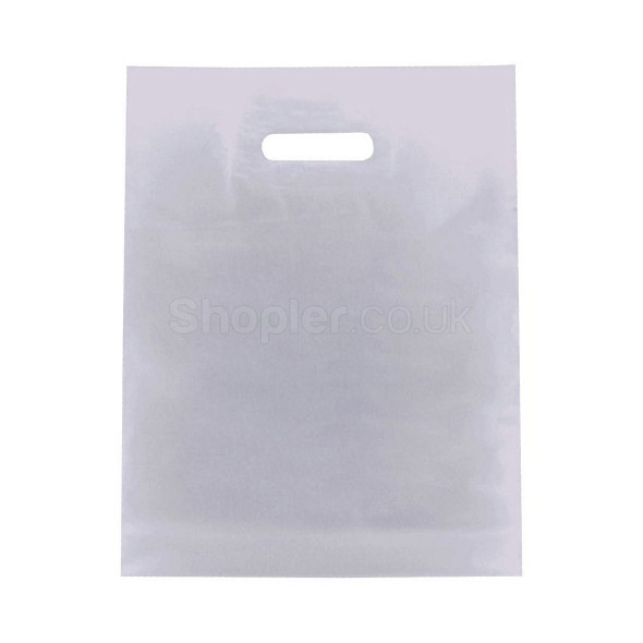 White Plastic Patch Handle Bag [12x12+4Inch] - SHOPLER.CO.UK