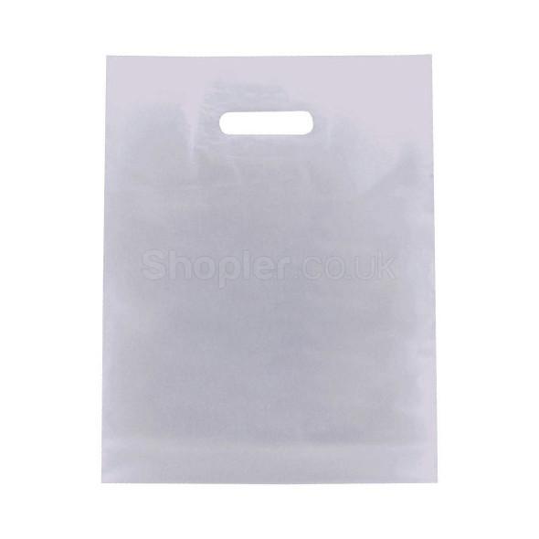 White Plastic Patch Handle Bag - SHOPLER