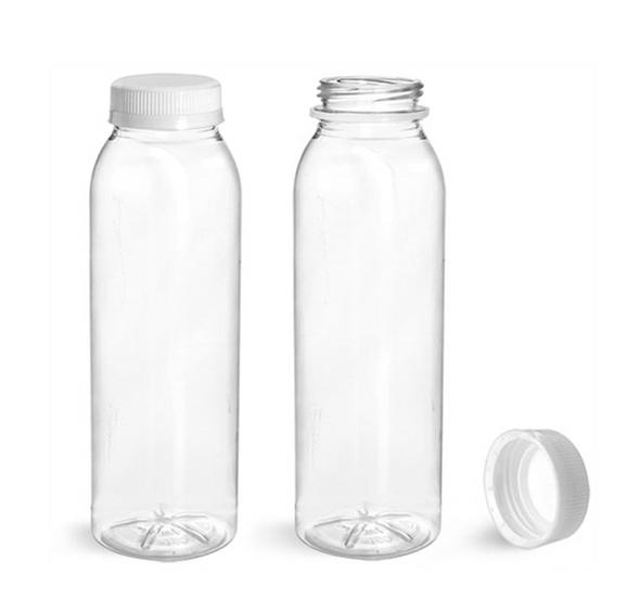 Clear Juice Bottle Square 330ml & Caps - SHOPLER.CO.UK