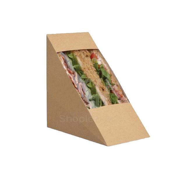 Deep fill Cardboard Bio Deg Sandwich Wedges - SHOPLER