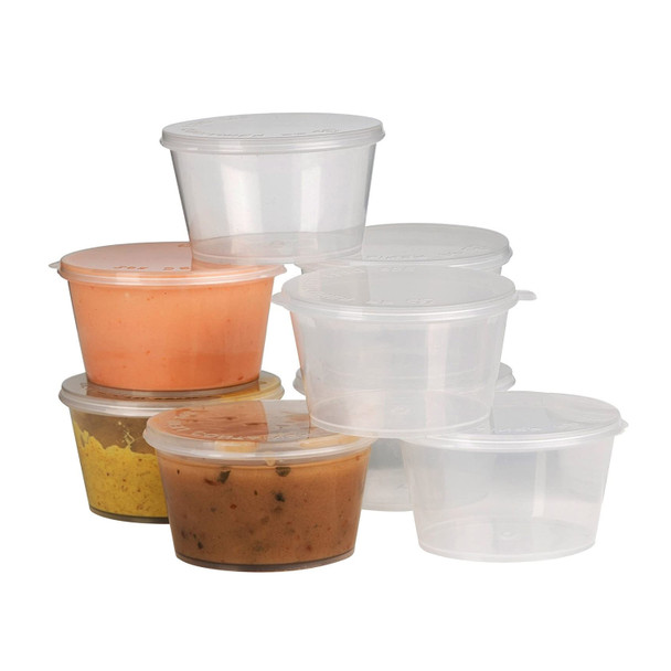 Deli pots & Sauce pots Hinged Plastic Container Round Clear - 1oz