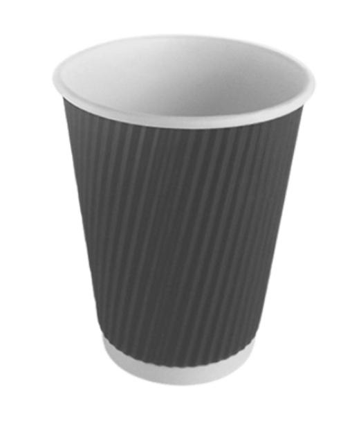 Go Pak Ripple Black Paper Cup Hot [16oz] a pack of 500 - SHOPLER